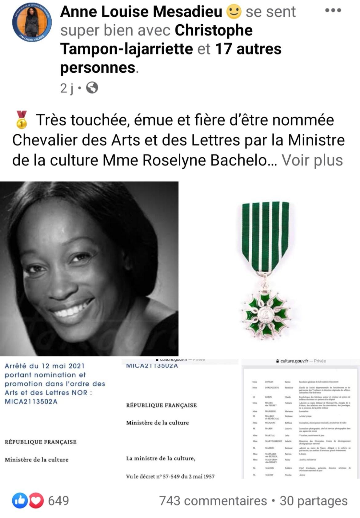 Anne-Louise Mesadieu nommée chevalière des Arts et des Lettres en France
