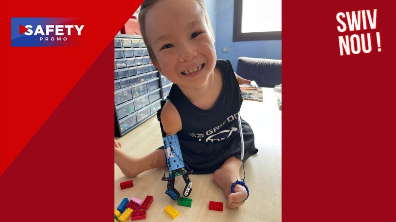 """Le Youtubeur """"Hand Solo"""" crée une prothèse en Lego pour un petit garçon né sans bras"""