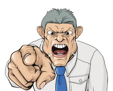 Bullying boss shouting and pointing