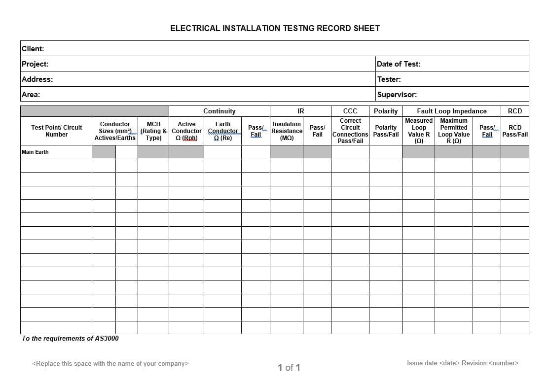 Electrical Safety Policy Template