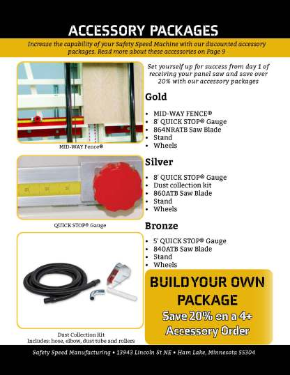 vertical panel saw accessory packages