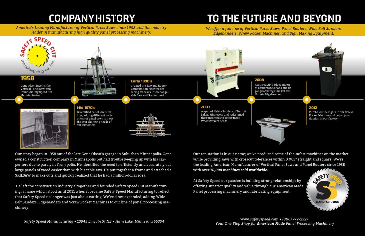 Woodworking machinery catalog page featuring company history by by Safety Speed Manufacturing