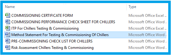 Method Statement For Testing & Commissioning Of Chillers