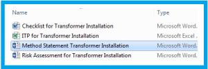 Method Statement Transformer Installation