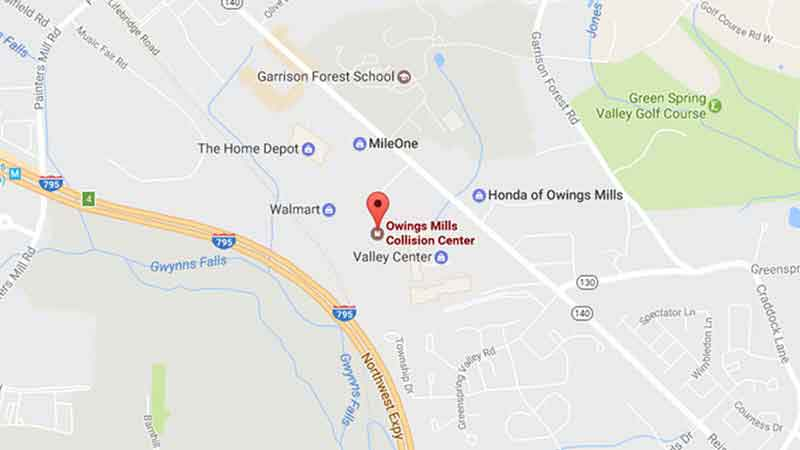 Location of Safford Owings Mills Collision Center