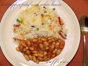 white beans with pepper pilaf