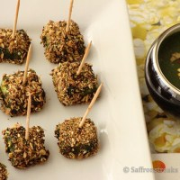 Spice crusted paneer tikka in green sauce / chutney - a different approach