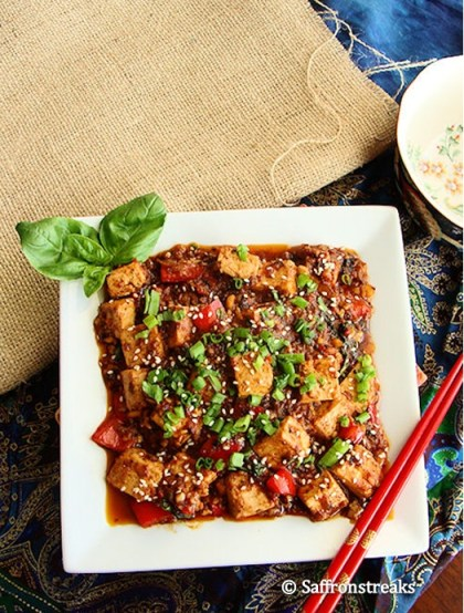 stir fried tofu with basil