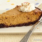 Pumpkin pie with ginger spiced chocolate crust for Halloween