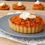 Almond crust tart filled with Indian carrot pudding – a Diwali special