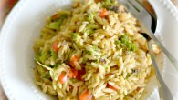 Orzo pasta salad –the beautiful pearly orzo pasta glistening in herb-ed olive oil ( I keep a small portion of olive oil always ready, infused sometimes with rosemary, thyme or garlic), peppered with colorful roasted red bell peppers, broccoli, roasted cherry tomatoes, toasted pine nuts (or any other seed or nuts for that crunch in your salad) with generous sprinkling of crumbled feta cheese (you can use Parmesan also) and fresh curly parsley /basil (from the kitchen garden). A generous […]