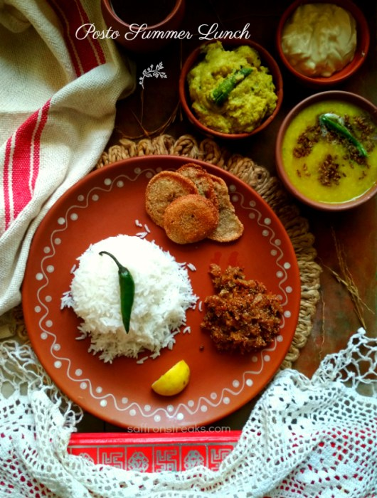 Bengali posto lunch meal vegan thali