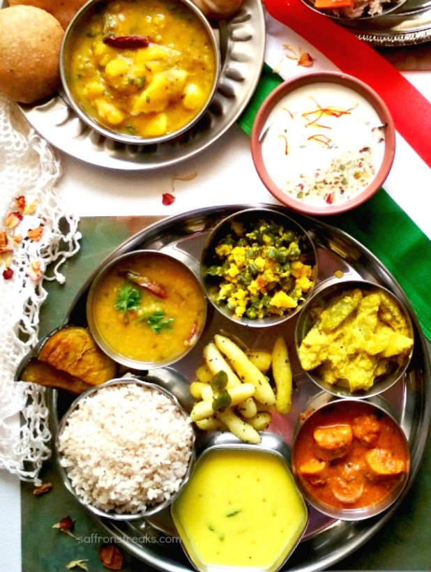 indian vegetarian tricolor thali
