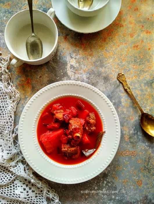 mutton stew with beetroot
