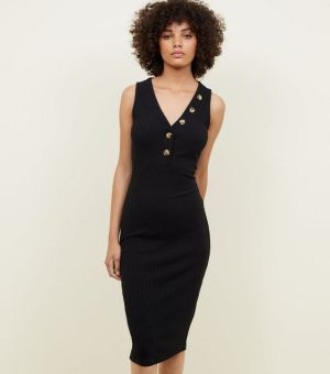 Black V-Neck Sleeveless Jersey Midi Dress