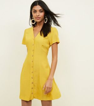 Mustard Yellow Button Front Tea Dress