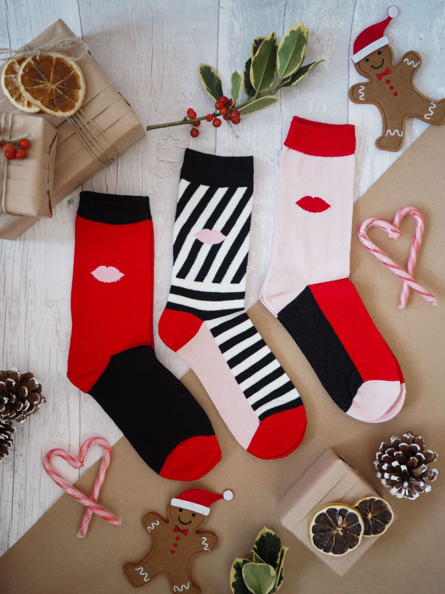 Lulu Guinness - 3 Pairs of Boxed Kiss and Cat Socks Ladies
