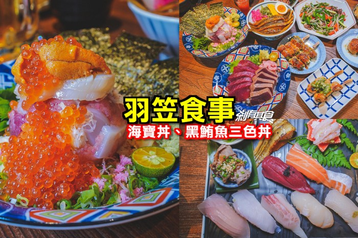 羽笠食事 | 台中日式推薦 海寶丼鮭魚卵小山真的太誇張 黑鮪魚 螢烏賊 烤鮮蚵都來一份!