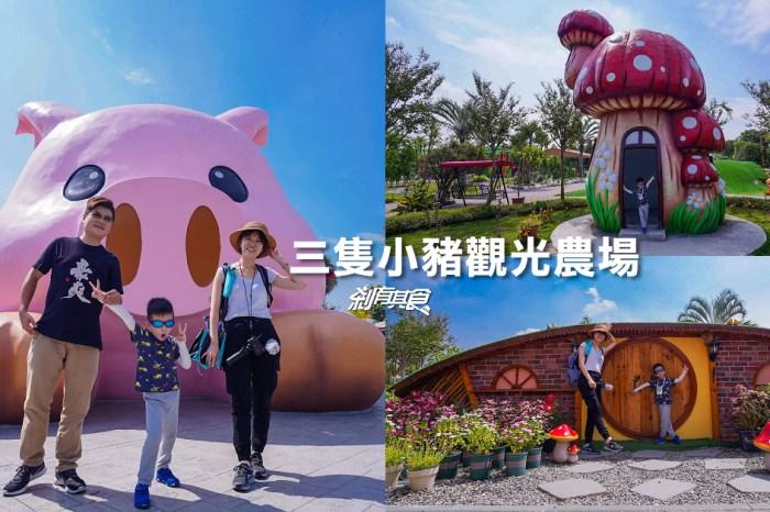 三隻小豬觀光農場 | 嘉義新景點 巨大粉紅豬、蘑菇屋、哈比屋 近距離觀察小動物