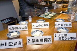 今回のイベントでメンバーが食べ比べた嬉野市内の湯豆腐