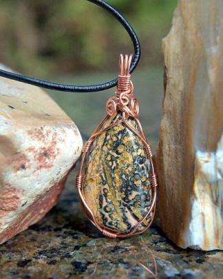 copper wired, Leopard skin Jasper