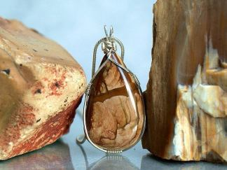 Silver wrapped, Biggs Jasper pendant necklace