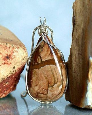 Silver wrapped, Biggs Jasper pendant necklace