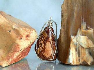 Large brown gemstone, Biggs Jasper necklace