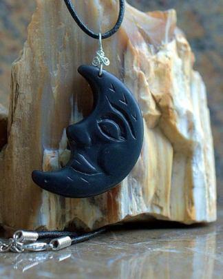 Hand carved moon, Argillite pendant necklace