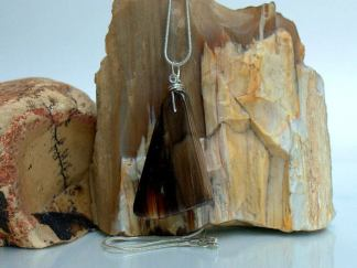 Petrified wood, fossil pendant, charm necklace