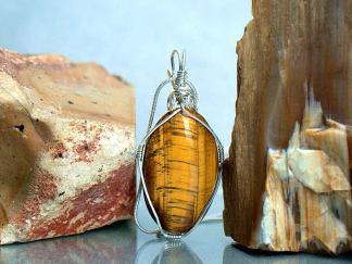 Vibrant golden Tiger eye pendant, large oval gemstone necklace