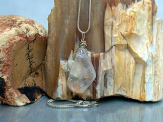 Clear Quartz pendant, silver wire set crystal necklace