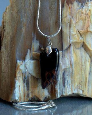Mahogany Obsidian, black stone charm necklace