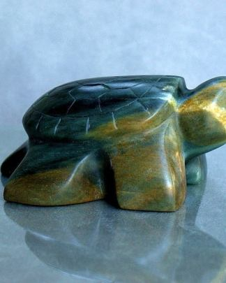 Turtle carving, soapstone figurine