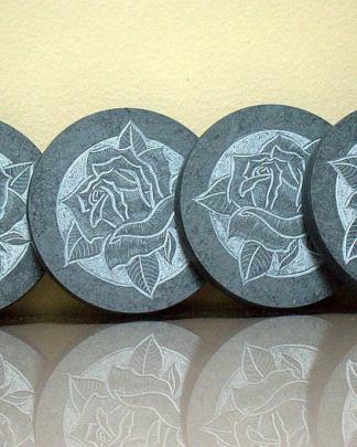 Natural Slate,rose style,black stone coasters