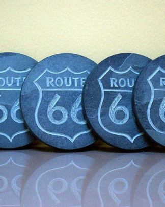 Route 66 road sign,hand carved stone coasters