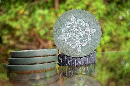 Fleur de Lis,green stone,carved drink coasters