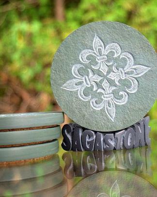 Fleur de Lis,green stone,carved drink coasters