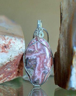 Rhodochrosite crystal, gemstone pendant