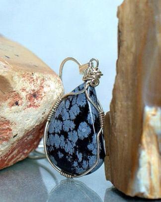 Snow flake Obsidian necklace