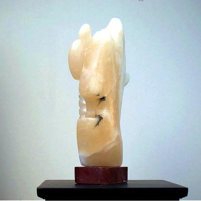Original abstract, alabaster dragonfly sculpture