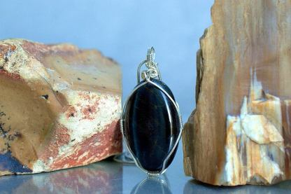 Blue Tiger eye gemstone pendant, good luck stone