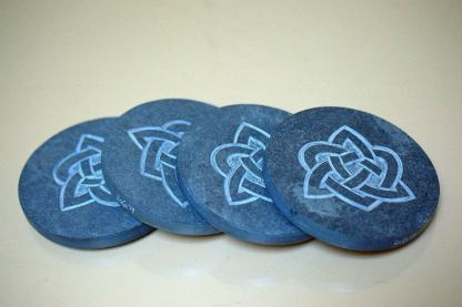 Celtic knots symbols, hand carved stone coasters