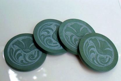 Poppy flowers,hand carved,green stone coasters