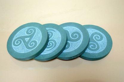 Hand carved, Celtic symbol,Green Slate coasters
