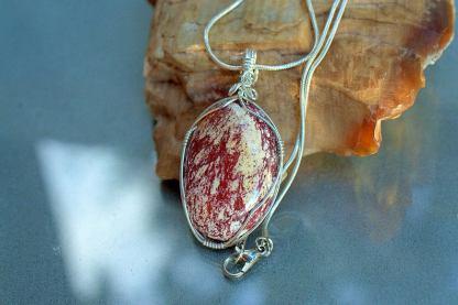 Alunite pendant, Angel wing talisman necklace