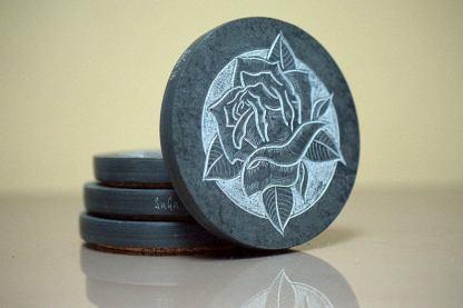 Black Rose, hand carved stone, drink coaster set