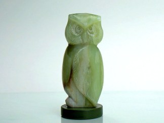 Light green very cute owlsoapstone figurine