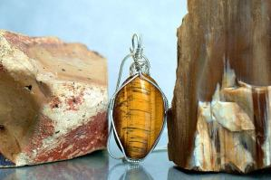 Golden Tiger eye oval pendant