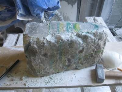 about a 150 lb soapstone boulder